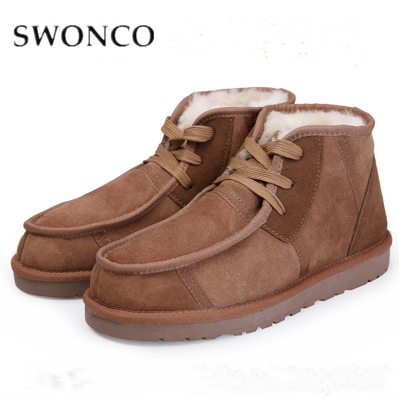 SWONCO Women Boots Winter Natural Fur Ankle Boots High Quality Retro Plus Size 43 44 Anti-Slippery Ladies Winter Shoes Mom ShoesSWONCO Women Boots Winter Natural Fur Ankle Boots High Quality Retro Plus Size 43 44 Anti-Slippery Ladies Winter Shoes Mom Shoes
