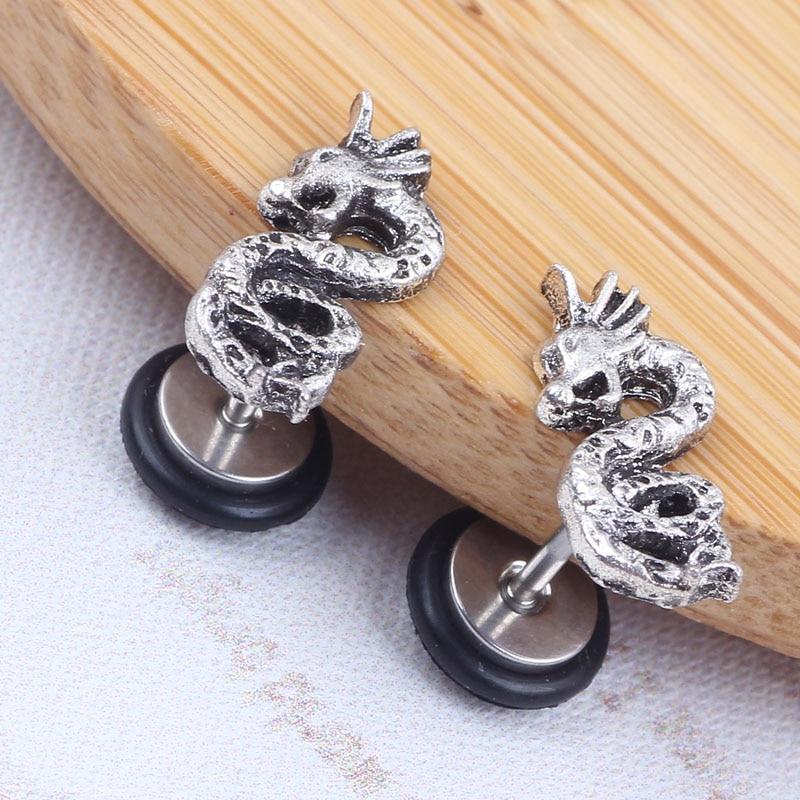 New Design Dragon Barbell Earrings Ear Stud Fake Ear Gauge For Women Men 316L Stainless Steel Steel with O ring