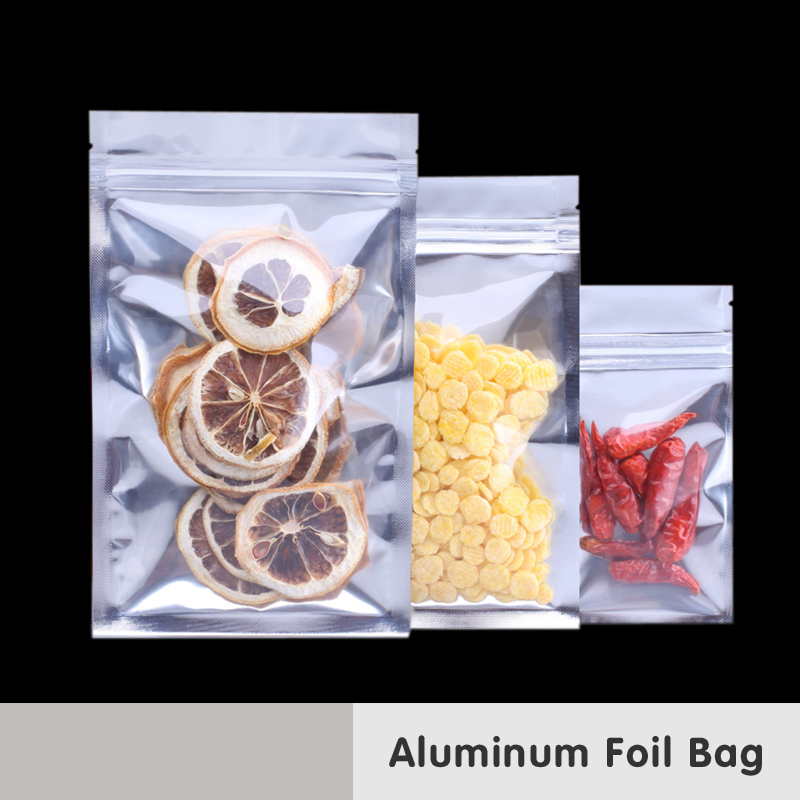 Genomskinlig återförslutbar luktbevis Förpackning Mylar väska Aluminiumfolie Zip Lås Mat Medical Showcase Värmepakningslaminering Förpackning