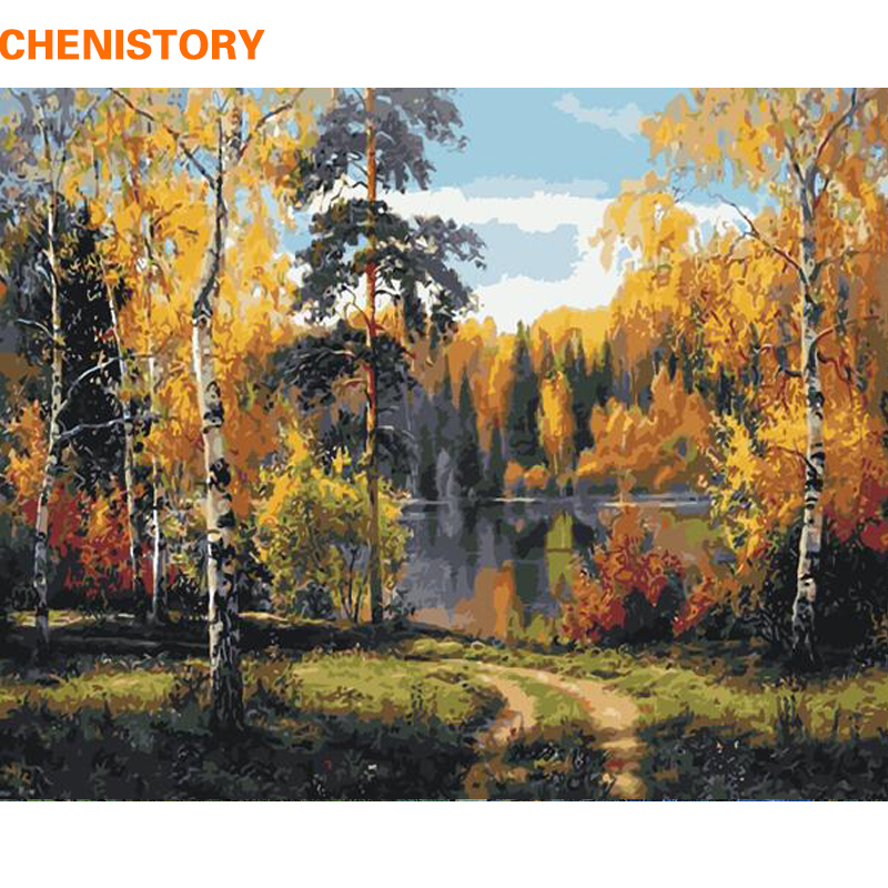 CHENISTORY Frameless Forest DIY Painting By Numbers Landscape Home Wall Art Picture Hand Painted Oil Painting For Home Decor Art