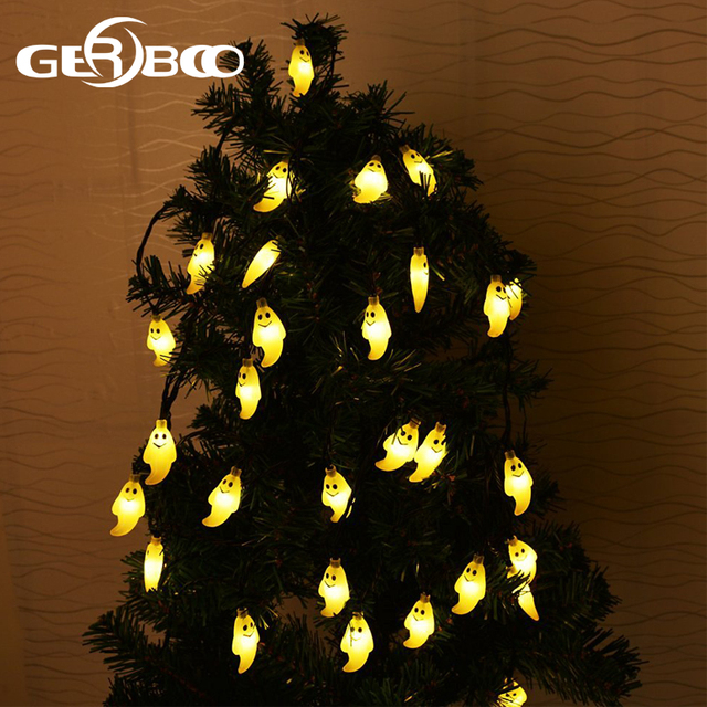 outdoor halloween holiday decorations waterproof ghost solar string lights 20 led decorative lighting for garden patio