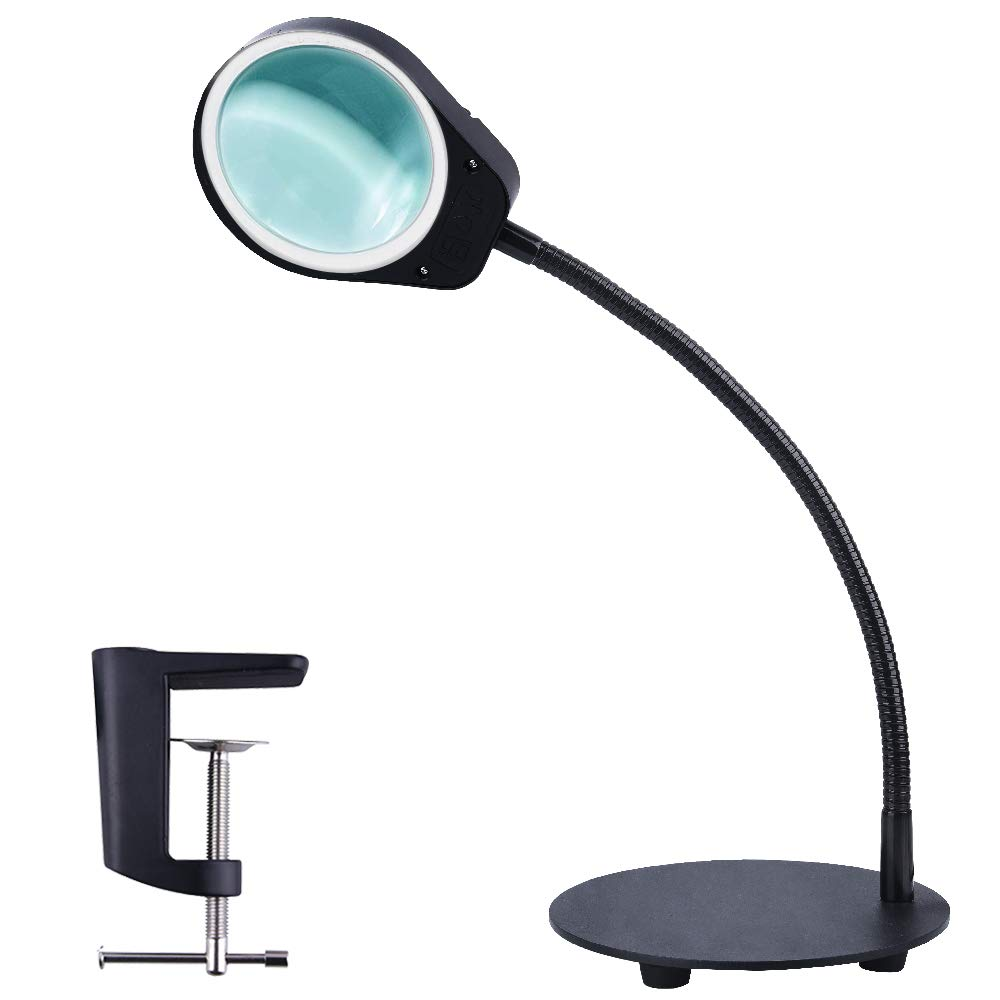 5X LED Magnifying Glass with Light Dimmable 2 in 1 Super Bright Clamp Table Lamp Lighted Magnifier Stand Clamp for Reading in Magnifiers from Tools