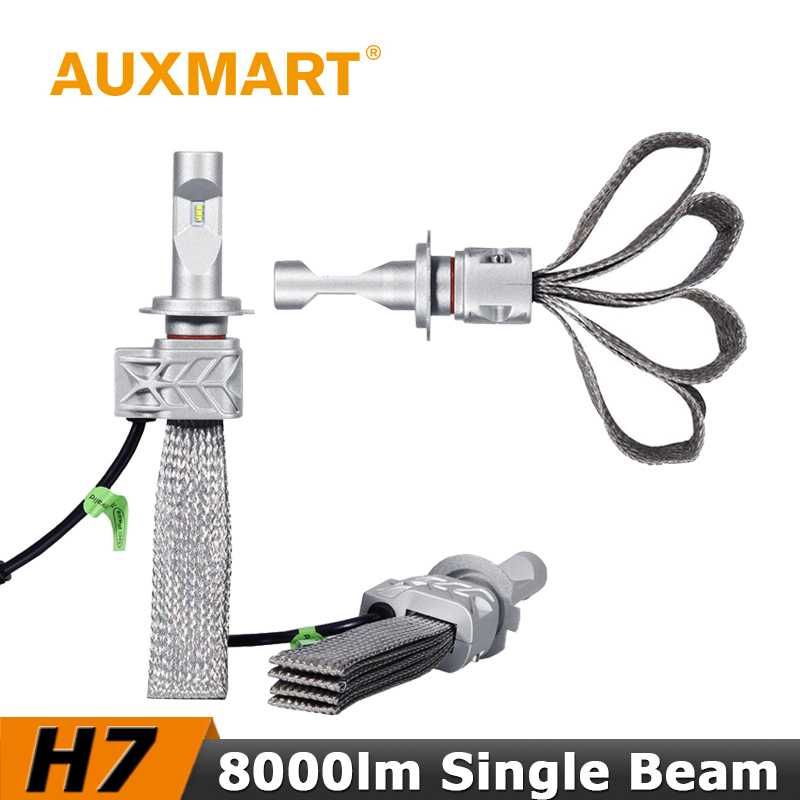 ФОТО Auxmart H7 Car LED Headlight Kit CSP CREE Chips 72W/Set 8000lm Copper Cooling Belt Fog Light Head Lamp For VW Honda Toyota