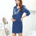 Зима Новая Мода Для Беременных Одежда Для Беременных Вышитые Джинсовые Платья Материнства Плюс Размер Повседневная Беременность Одежда