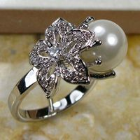 WHITE PEARL 925 STERLING SILVER RING SIZE 5 6 7 8 9 10 11 12 TR130