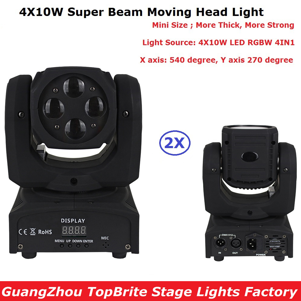 2Pack Mini Size 4X10W Super Beam Moving Head Lights 60W High Brightness LED Beam Lights Perfect For DJ Disco Party Wedding Shows p80 panasonic super high cost complete air cutter torches torch head body straigh machine arc starting 12foot