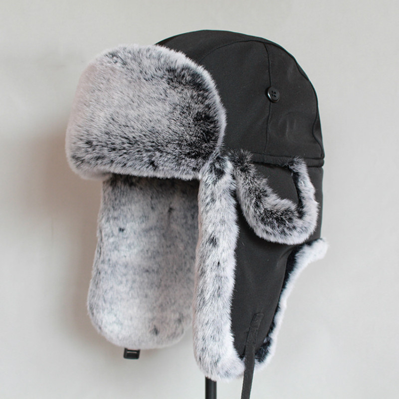 Winter bomber hat  For Men faux fur russian hat ushanka Thick Warm cap with ear flaps(China)