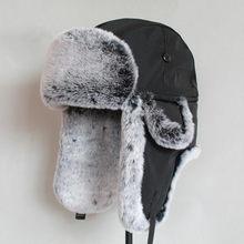 Chapéu de inverno para homens de pele falsa chapéu russo ushanka grosso quente boné com aletas de orelha