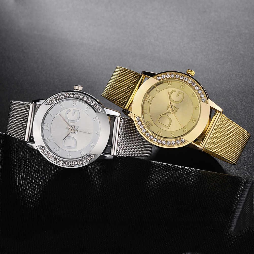 Relogio Feminino Luxo 2019 السيدات ساعة مع كريستال بسيط موضة سيدة شبكة حزام ساعة حجر الراين ساعة حزام لون نقي