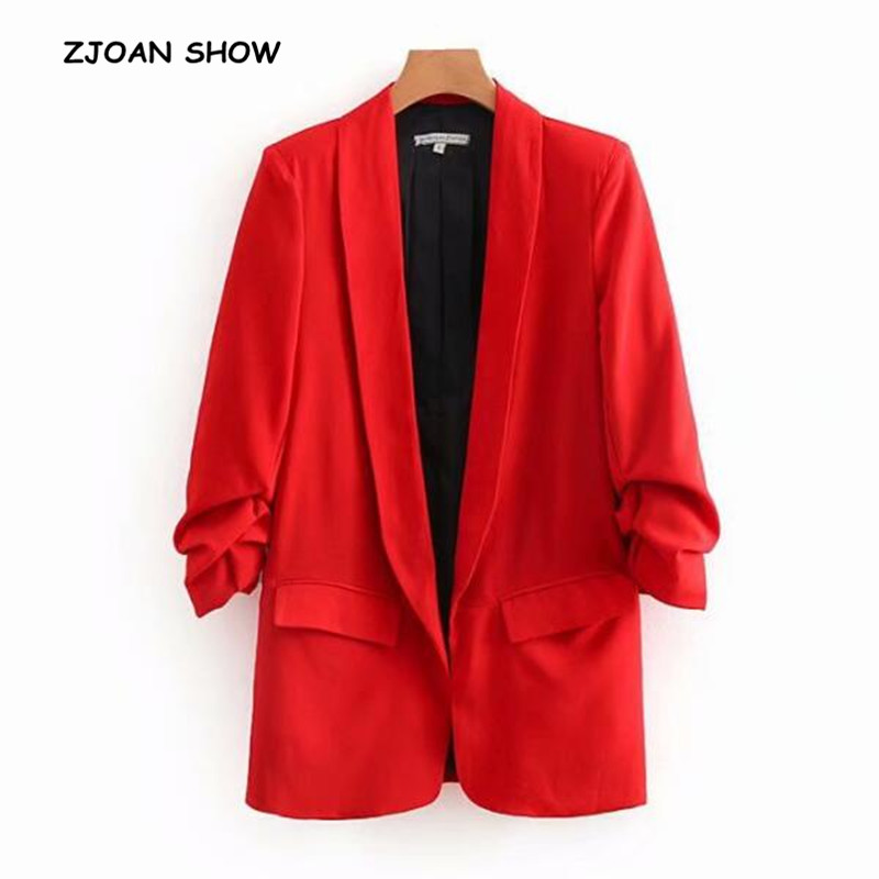 Chic Candy Solid Color Ruched Cuff Mid Long Blazer With Lining Woman Shawl Collar Slim Fit Suit Casual Jacket Coat Outerwear