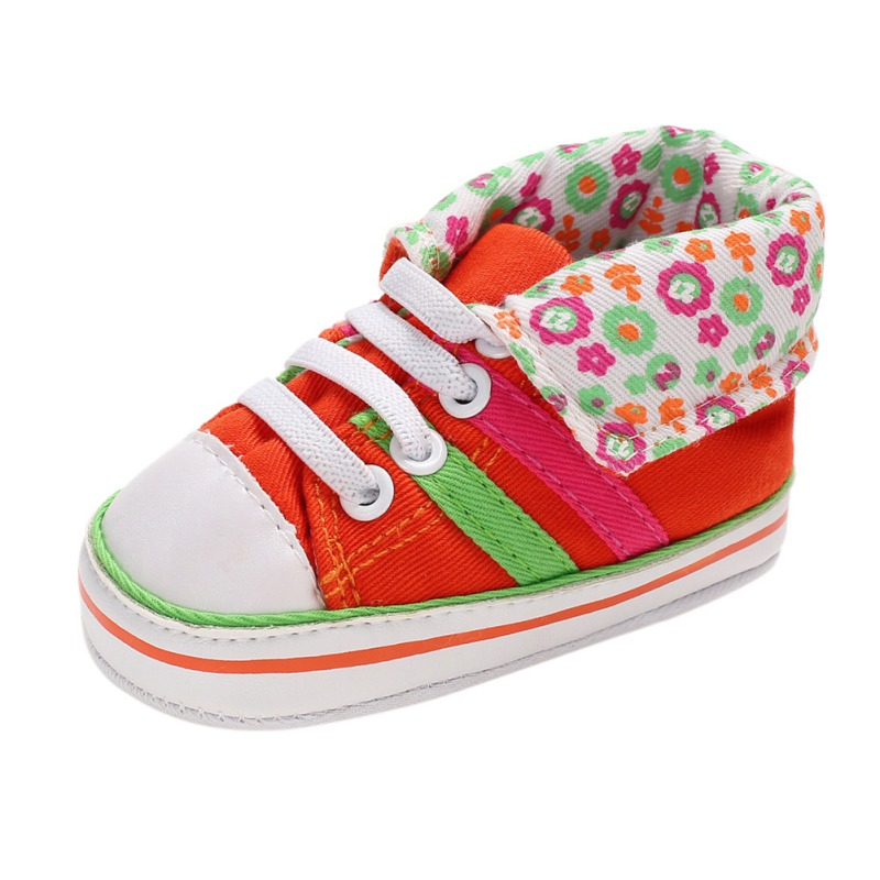 Fashion High Top Sneakers Baby Boys Girls Shoes Canvas Lace Up Kids First Walker Soft Sole No-slip Prewalkers Sports Shoes