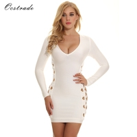 Ocstrade 2017 Autumn New Arrival Women White Sexy V Neck And Lace Up Knitted Long Sleeve