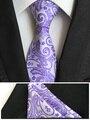 Mens corbatas de moda de bolsillo cuadrado de set en el tie lavanda púrpura tejida hombres amarillo corbatas de poliéster corbata de seda pañuelo T043