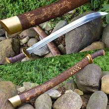 KungFu lame en acier au manganèse | KungFu chinois large, dynastie Qing Dao sabre, robuste et à haute teneur en manganèse, couteau pour combat en plein air