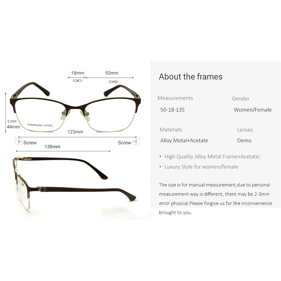 Stainless Steel Semi Rimless Eye Glasses Frames For Women Trends Spectacle Frames Ladies Myopia Glasses Diopter Oculos De Grau in Women 39 s Eyewear Frames from Apparel Accessories
