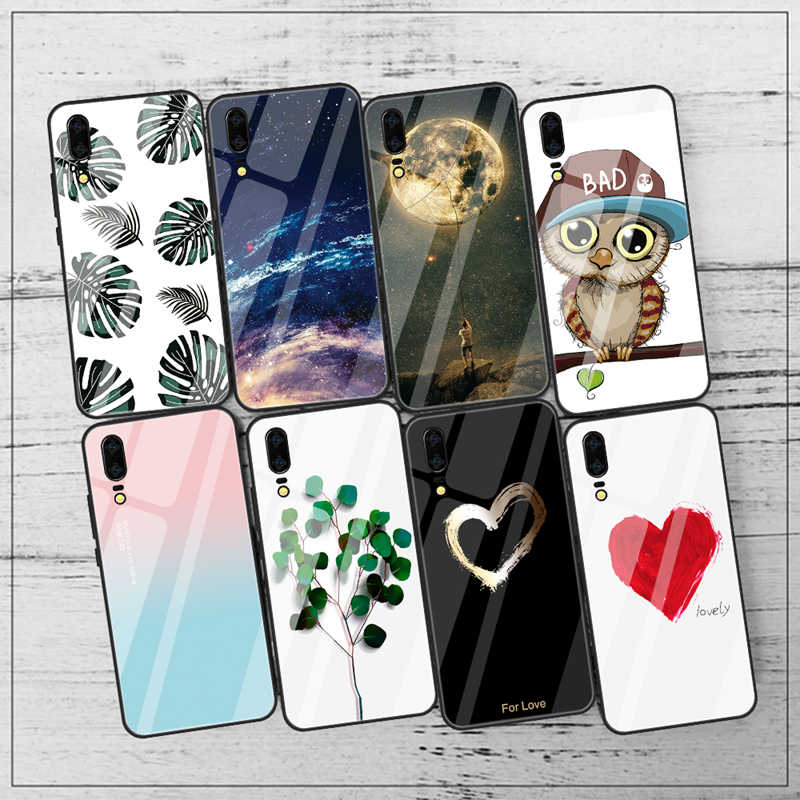 Phone Case For Huawei P20 Lite Mate 20 Lite 20 Nova 3e 3 3i Luxury Pattern Tempered Glass Case For Huawei P20 P30 Pro P 30 Cover