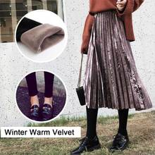 Hot False Two Piece Skirt Pants Leggings Women Winter Warm Velvet Pants + Midi Pleated Skirt Bright Metallic Color Casual Skirts