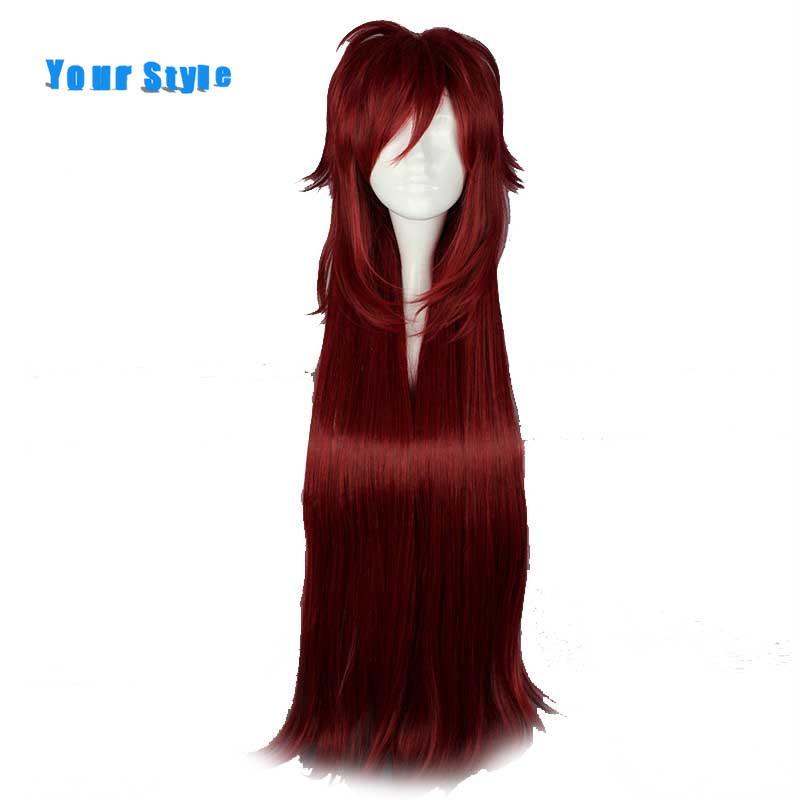 Your Style Long Straight Burgundy Red Layered Full Cosplay Party Wigs Red Natural Hair Synthetic High Temperature Fiber