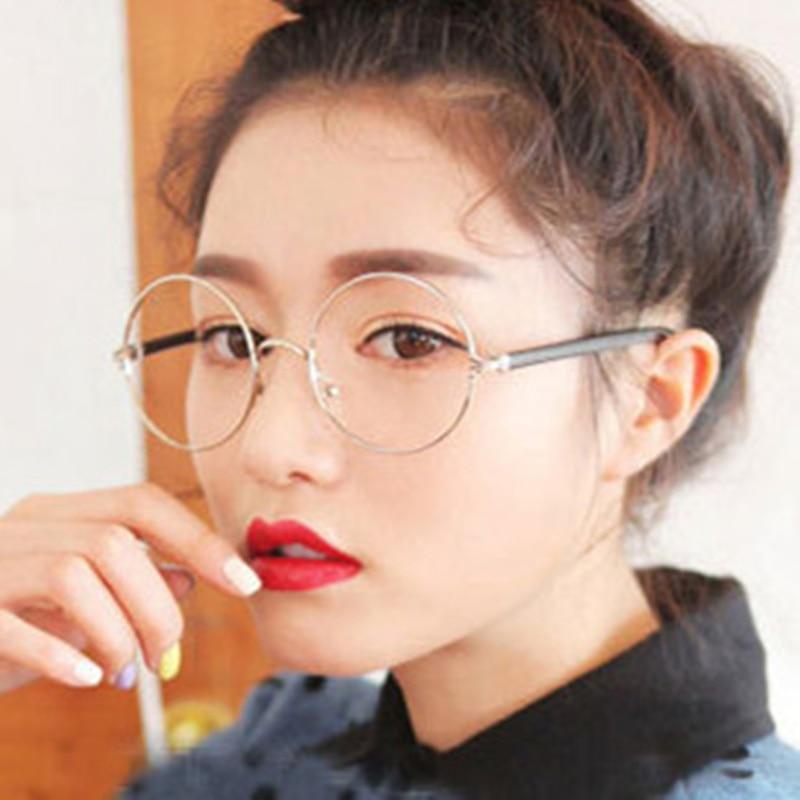 7883e73b060 CRUOXIBB Men women Round Sunglasses Retro Metal Frame Eyeglasses Korean  Optical Circle Plain Mirror Reading Gothic Glasses legs-in Sunglasses from  Apparel ...