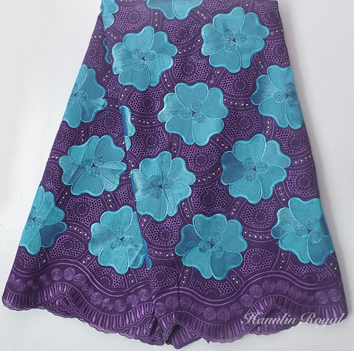 Púrpura Turquesa 5 yardas Cordón de gasa suizo Tela de encaje - Artes, artesanía y costura