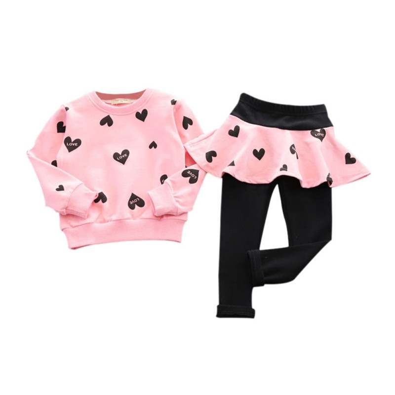 Little Girls Clothing Set Outfit Heart Print Top Pant Skirts Baby Clothes Suit