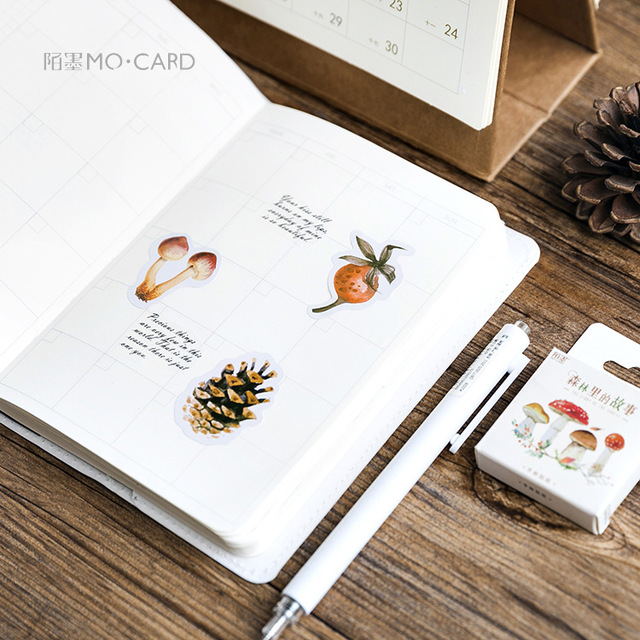 46Pcs/box Autumn of Forest Diary Sticker Kawaii Planner Scrapbooking Sticky Stationery Escolar School Supplies 2