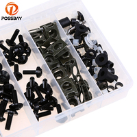 POSSBAY Motorcycle Part Complete Bolt Nuts Universal fit for Suzuki Ducati Harley Honda Scooter Bolt Kit With Plastic Box
