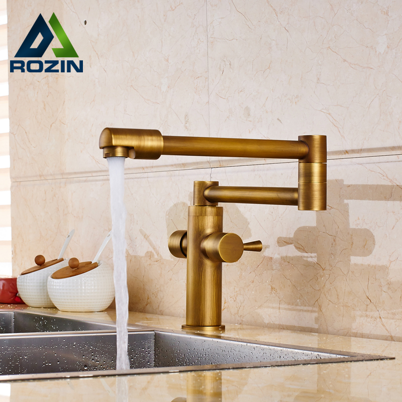 Brass Antique Dual Handle Bathroom Kitchen Sink Faucet Stretch and Folding Neck Hot and Cold Mixer Taps phasat 4308 retro dual handle bathroom sink faucet antique brass