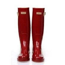 ПВХ Красный Дамы Водонепроницаемый Дождь Сапоги Женские Резиновые Дышащий Мода Колено Высокие противоскользящие Резиновая Водную Обувь Женские Botas горячая
