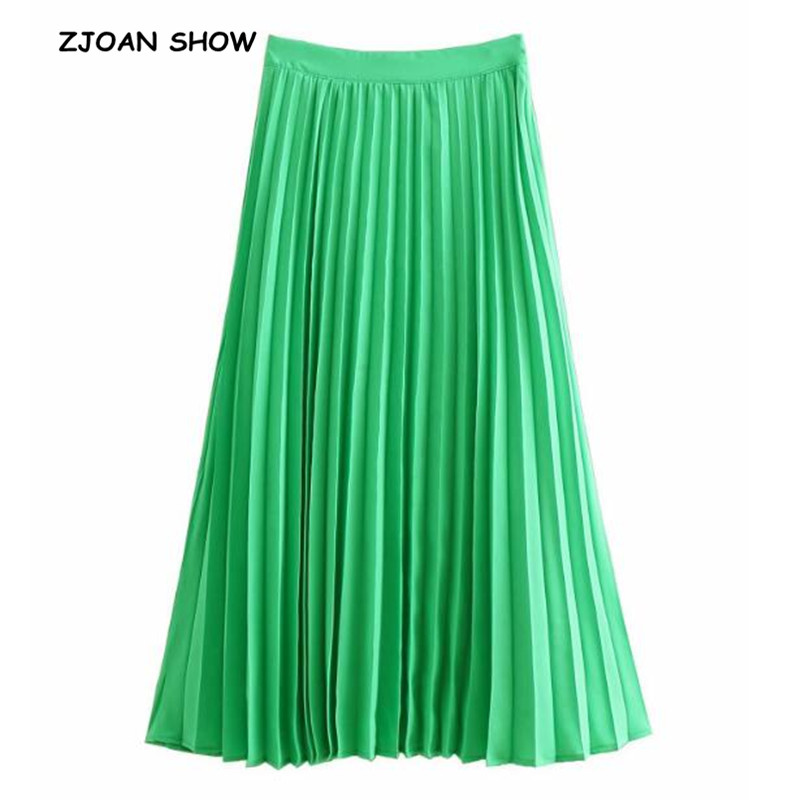 2019 New Spring Summer Vintage Hepburn Women Green Midi Pleated Skirt OL Long Mid-Claf A-line Swing Skirts Femme With Lining