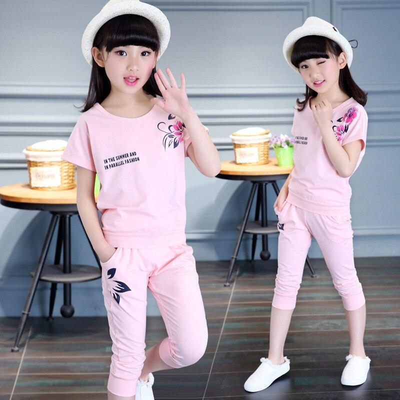 US $13.23 10% OFF|Mädchen Kleidung Kinder Trainingsanzug Outfit Kids Sommer Baumwolle Twinset Sport Anzug Schuluniform Teenager Kurzarm Pullover