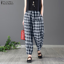 436732a54 2018 ZANZEA Women Summer High Elastic Waist Baggy Turnip Trousers Plaid  Check Pockets Casual Loose Harem Pants Oversize Pantalon