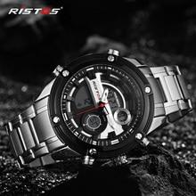 RISTOS мужские часы Топ люксовый бренд Бизнес Сталь Кварцевые Часы повседневные водонепроницаемые мужские наручные часы Relogio Masculino