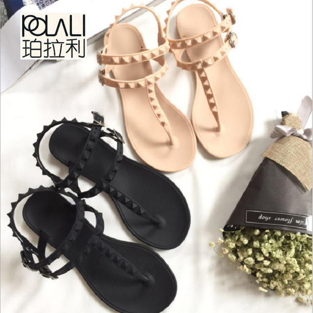 9567db4ef48042 POLALI Leisure Flip Flops Sandals Flat With Rivet Solid Buckle Strap Plastic  Jelly Shoes Sandals Women
