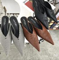 Brand Spring Sexy V Mouth Black Cross Tied Riband Woman Shoes Point Toe Leather Pumps Thin Heel Slides Flip Flops 5CM