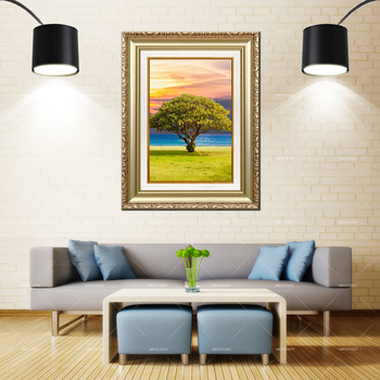 Artcozy Golden Frame Abstract Paisagem Com Arvore Waterproof Tree Canvas Painting