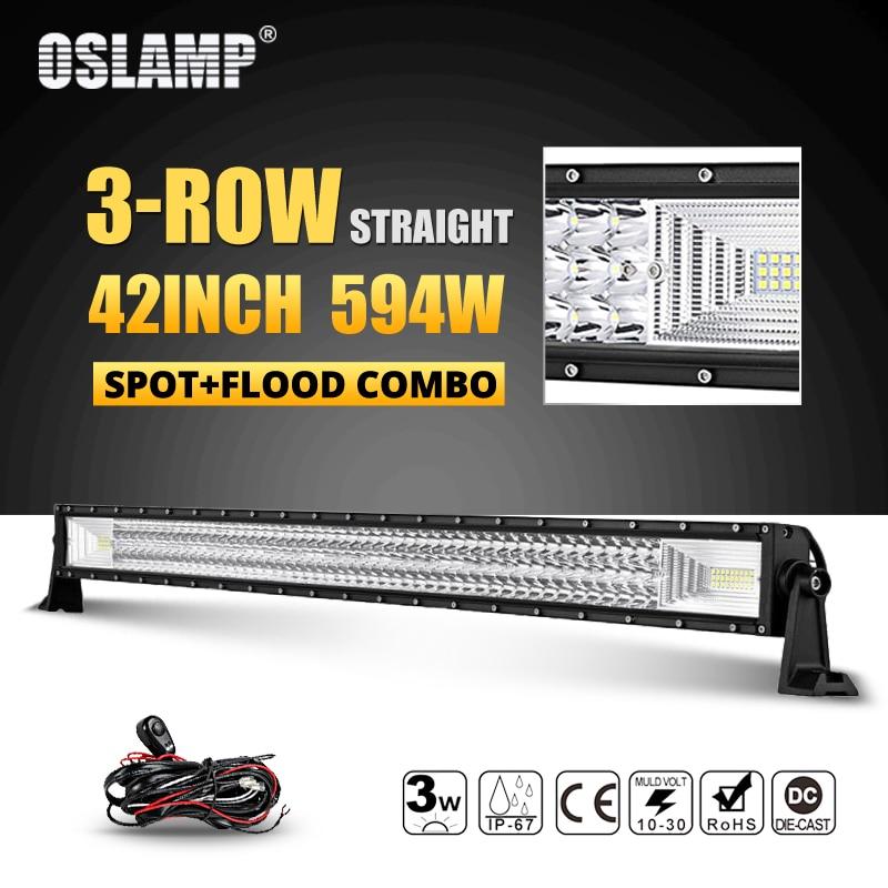 Oslamp 42inch 594W Tri row LED Offroad Light Bar Led Work Light Combo Beam DC12v 24v