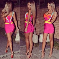 Plus Size XL XXL New Arrival Solid Sexy V Neck Rayon Bandage Dress 2016 Knitted Bodycon Elastic Designer Dress