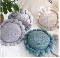 Creative round ball pillow Nordic handmade autumn and winter wool sofa cushion cushion solid color pillow