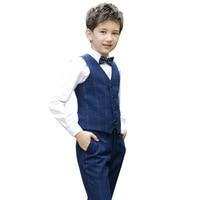 2019 Boys Clothes Sets Vest Shirt Pants 3PCS Bow Formal Wedding Boy Costume Autumn Children's Outfits Piano Clothing Suits