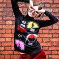 Мяч Меха Глаз Ресниц Трикотажные Свитера Женщины Мода Высокая Шея С Длинным рукавом Пуловеры Топы Femal Пуловер Женщин