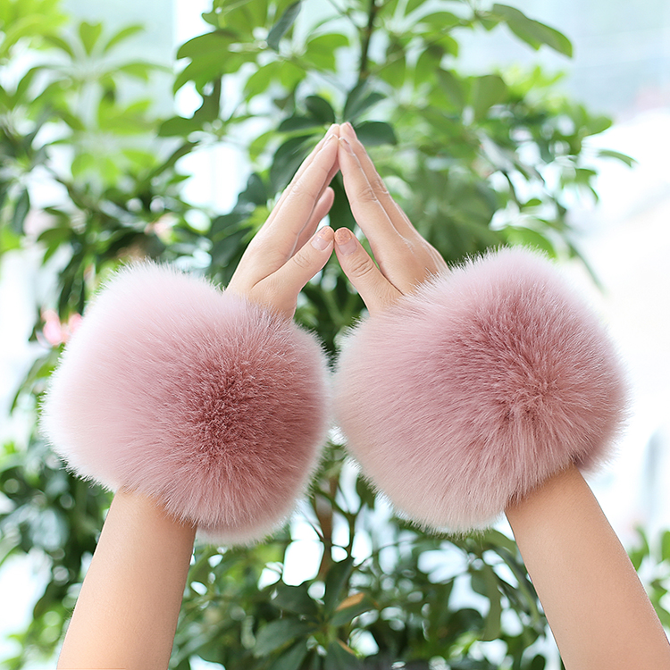 Thicken Women Winter Warm Wrist Arms Gloves Rabbit Faux Fur Bracelet Cuff Wristband Plush Elastic Oversleeve Arm Warmmer