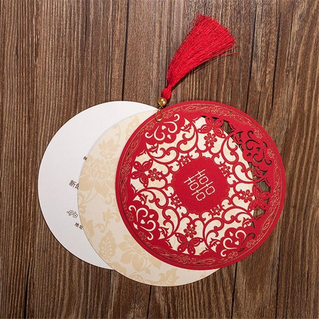 154cm Chinese Style Wedding Invitations Card Diameter Floral Design Envelope Pure Love Red White Elegant