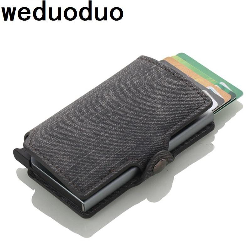 Weduoduo Aluminum Card Wallet Credit Card Holder with RFID Blocking Card Case for Men And Women PU Leather 4 Colours Card holder fashion pu leather business card holder for man aluminum bank credit card case protection rfid blocking organizer