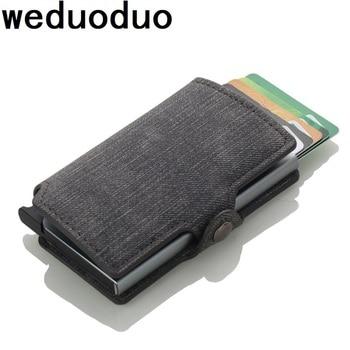 Weduoduo Kartu Aluminium Dompet Pemegang Kartu Kredit dengan RFID Memblokir Kartu Case untuk Pria dan Wanita Pu Kulit 4 Warna pemegang Kartu