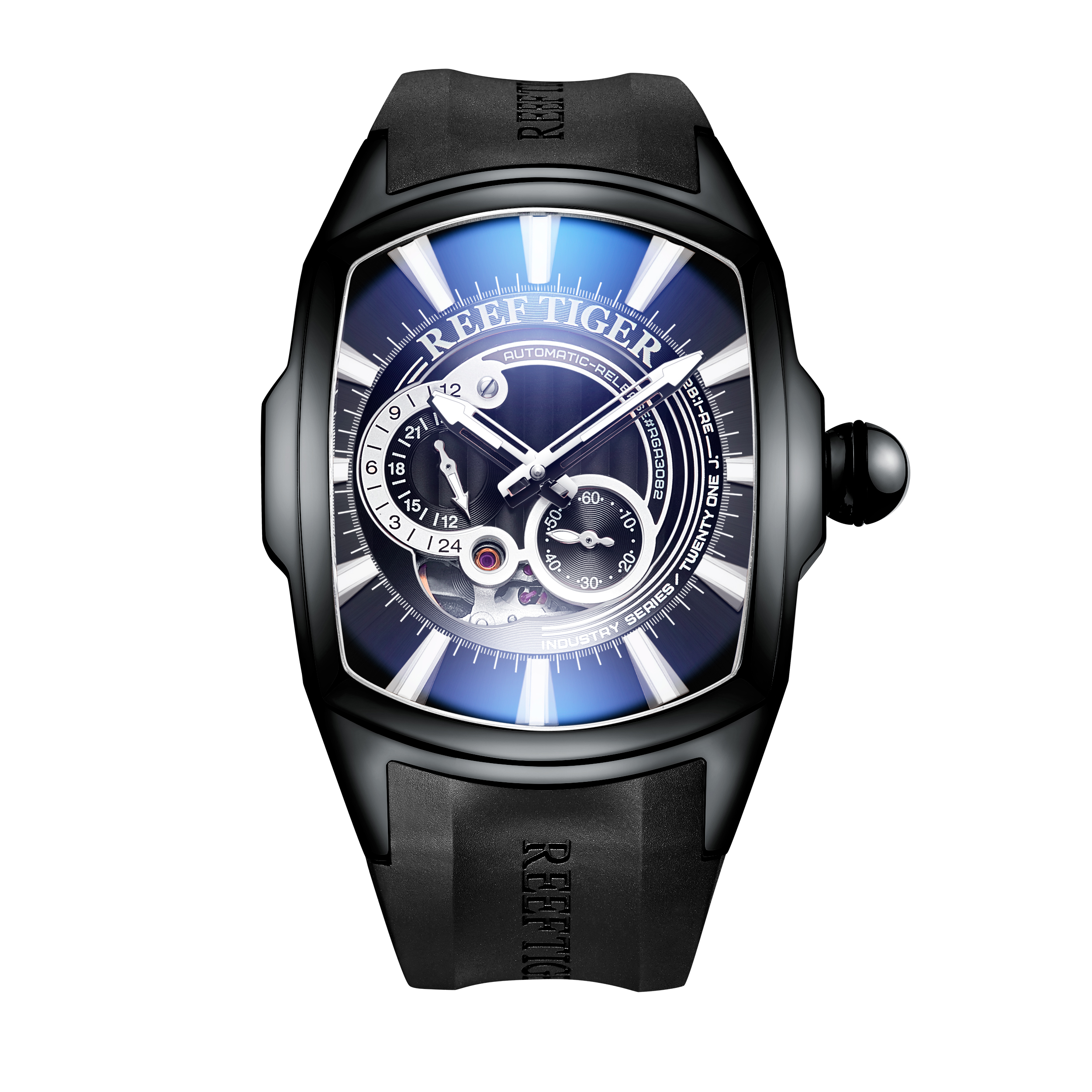 2019 New Arrival Reef Tiger/RT Mens Sports Automatic Watch Black Dial Black Rubber Strap Waterproof Watch RGA3069S