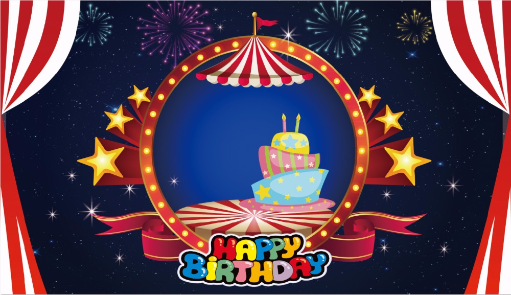7x5ft Happy Birthday Circus Stage Ice Cream Candles Fireworks Stars Custom Photo Studio Background Backdrop Vinyl 150cm X 220cm Fashionable(In) Style;