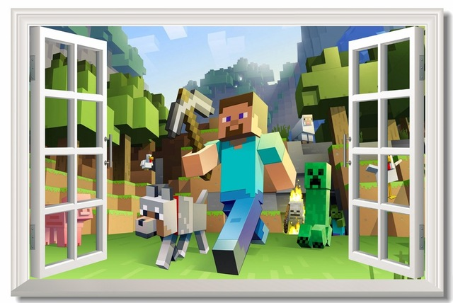 Custom Canvas Wall Decoration Minecraft Game Poster Minecraft Wallpaper 3D Window Wall Stickers Kids Bedroom Decals Gift #748#