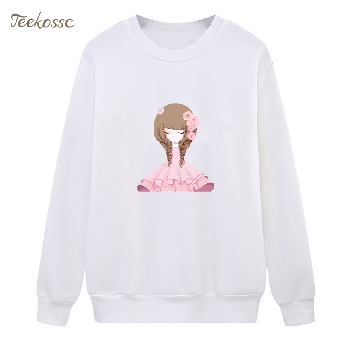 Flower Girl Sweatshirt Pink Hoodie 2018 New Brand Winter Autumn Women Lasdies Pullover Fleece Warm Loose Fit Casual Streetwear