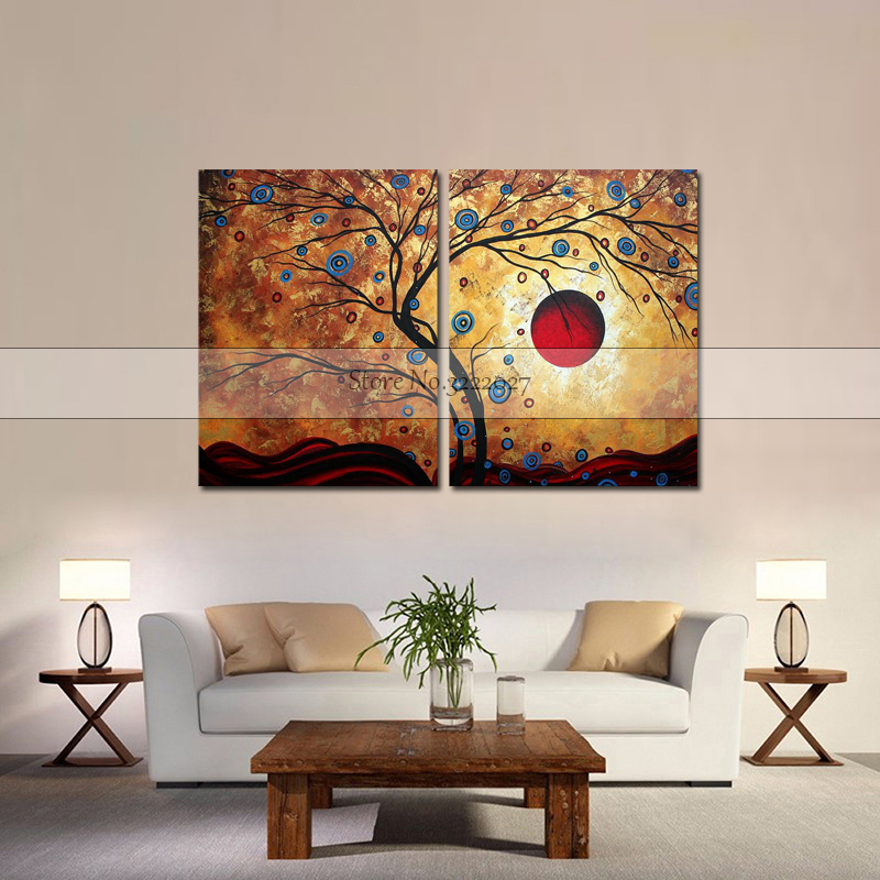 Thick Textured 100% Hand painted Modern Abstract Canvas Painting On Wall Art 3 panels golden tree leaf painting Gift